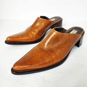 Steve Madden Roper Cognac Brown Leather Mules 8B